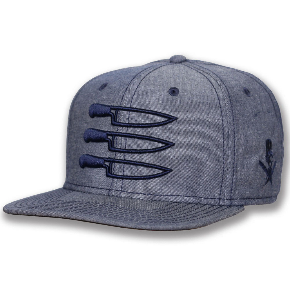 f6f677b528f9e Knife Stripes Chambray Navy-Flat Bill - Extreme Culinary Outfitters