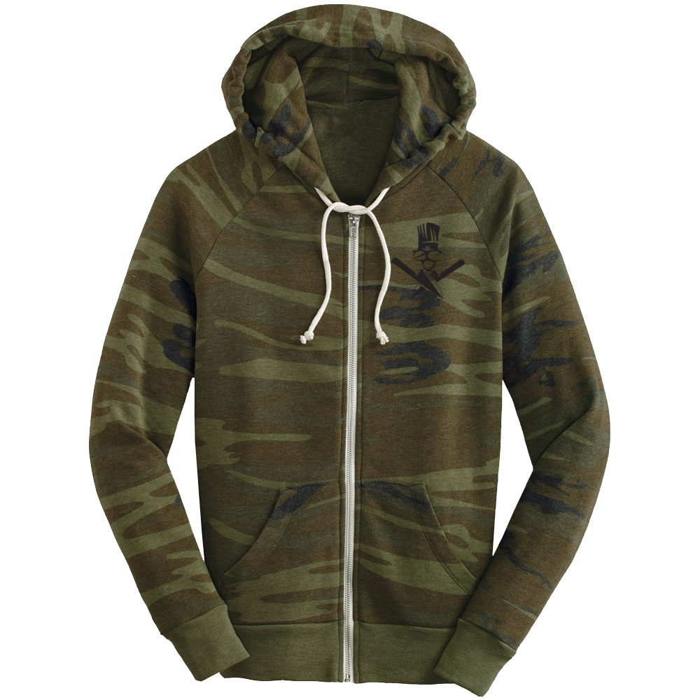 4b6c5685284e7 Camo Logo- Ladies Zip Hoodie - Extreme Culinary Outfitters